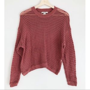 FOREVER 21 Loose Knit Pink Oversized Crop Sweater